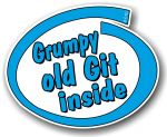 Funny Grumpy Old Git Inside Slogan With Retro Style Novelty Design Vinyl Car Sticker Decal 105x85mm